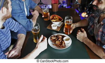 happy male friends drinking beer at - people, men, leisure,...