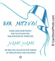 Bar Mitzvah Jewish Invitation Card - Vector illustration of...