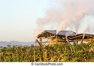 Northern hut for the production of charcoal, Chiangrai