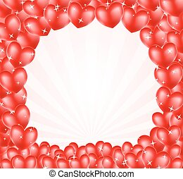 heart balloons frame background with stars