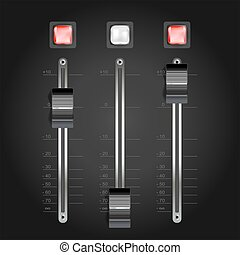 audio mixing console on black. vector