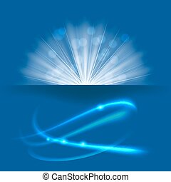 light rays burst on blue background. vector