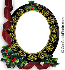 Christmas ribbons photo frame border