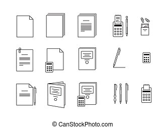 vector icons for computer paper Office - black and white...