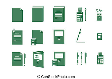 Green vector icons for computer paper Office - a Green...