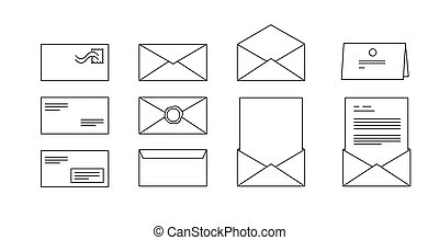 vector icons for computer envelopes with letters - black and...