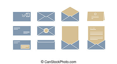 vector icons for computer envelopes with letters - a vector...