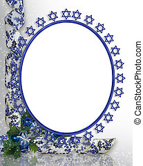 Jewish star photo frame border with decorative ribbons for...