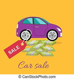 Car Sale Concept - Car sale design template with modern car...