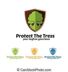 Protect The Trees Logo Icon, Tree Icon, Shield Icon