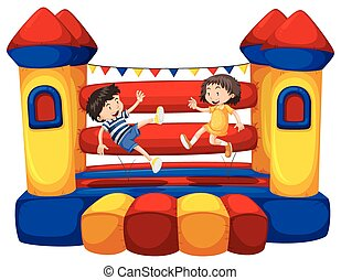 Boy and girl bouncing on the funhouse illustration