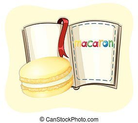 Yellow macaron and a book illustration