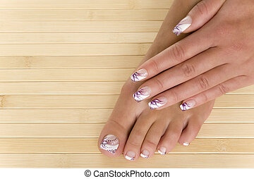 manicure and pedicure - beautiful hand and foot with perfect...