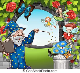 Wizard and fairies flying in garden