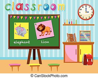 Kindergarten classroom with board and chairs