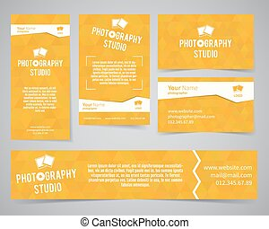 Modern light identity set. Business card, banner, flyer, poster templates photography studio or other business. Poly design. Corporate brand template with shutter logo, badge element. Vector