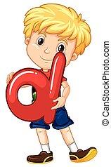 Little boy holding letter D