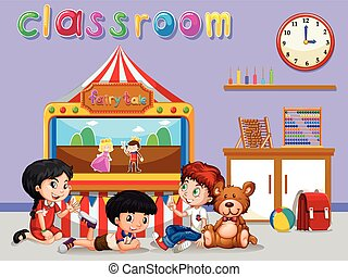 Children watching puppet in classroom illustration