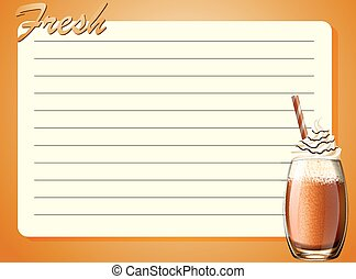 Line paper design with fresh drink