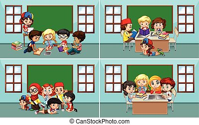 Children working in the classroom illustration
