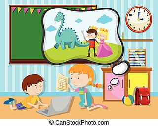 Boy and girl working in the classroom illustration