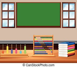Classroom with board and books illustration