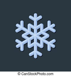 Blue Snowflake on Dark Background. Vector