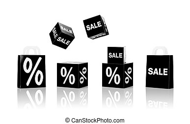 shopping bags and sale signs with percent - shopping, retail...