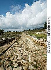Norga ancient city of Latium, Italy - Ancient roman road,...
