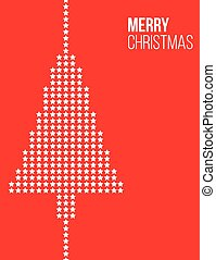 Stars Christmas tree red poster
