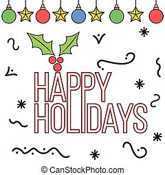 Doodle style happy holidays card