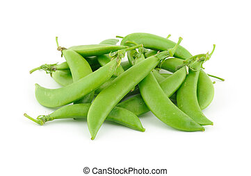 Sugar snap peas in isolated white background