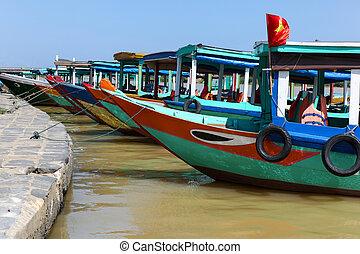 Colourful Boats - Hoi An Vietnam - A group of colourful...