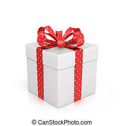 The white box wrapped with red ribbon with a bow on a white...