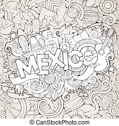 Mexico hand lettering and doodles elements background -...