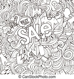 Sale hand lettering and doodles elements background.