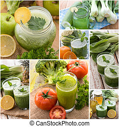 Various juices from mix tropical fruit