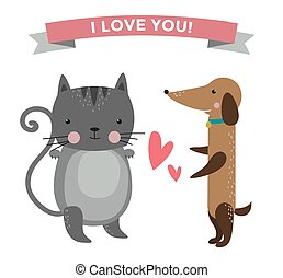 Cute cartoon animals couples fall in love banner vector...