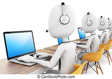 3d man and laptop, call center business concept