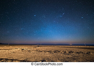 Starry sky on the desertic Andean highland, Bolivia -...