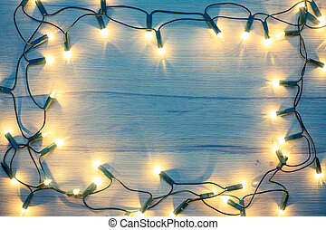 Christmas lights frame toned