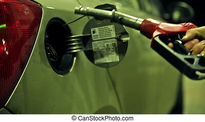 Fuel gas petrol diesel pump - Pumping a car with gas petrol...
