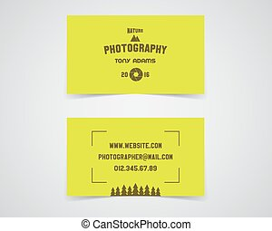 Modern light Business card template for nature photography studio. Unusual design. Corporate brand identity template with shutter logo, badge element. Photograph label. Realistic shadow. Vector