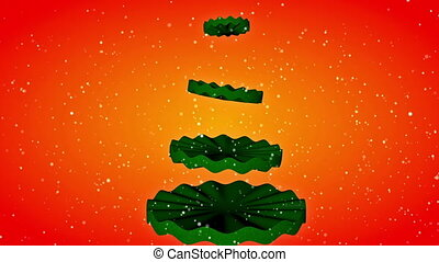 Christmas tree animation - Christmas tree animation at red...