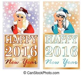 vector, banderas, año, nuevo,  2016, feliz