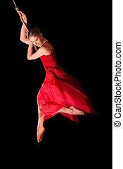 mulher, ginasta, corda, pretas, fundo, Vestido, vermelho