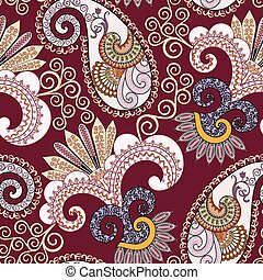 ornate seamless pattern with paisley and decorative beige...