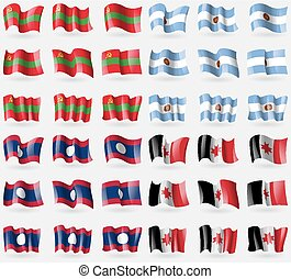 Transnistria, Argentina, Laos, Udmurtia. Set of 36 flags of the countries of the world. Vector