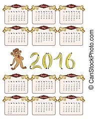 vintage calendar 2016 in brown and beige tones with a...