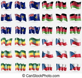 Turks and Caicos, Malawi, Ethiopia Set of 36 flags of the...